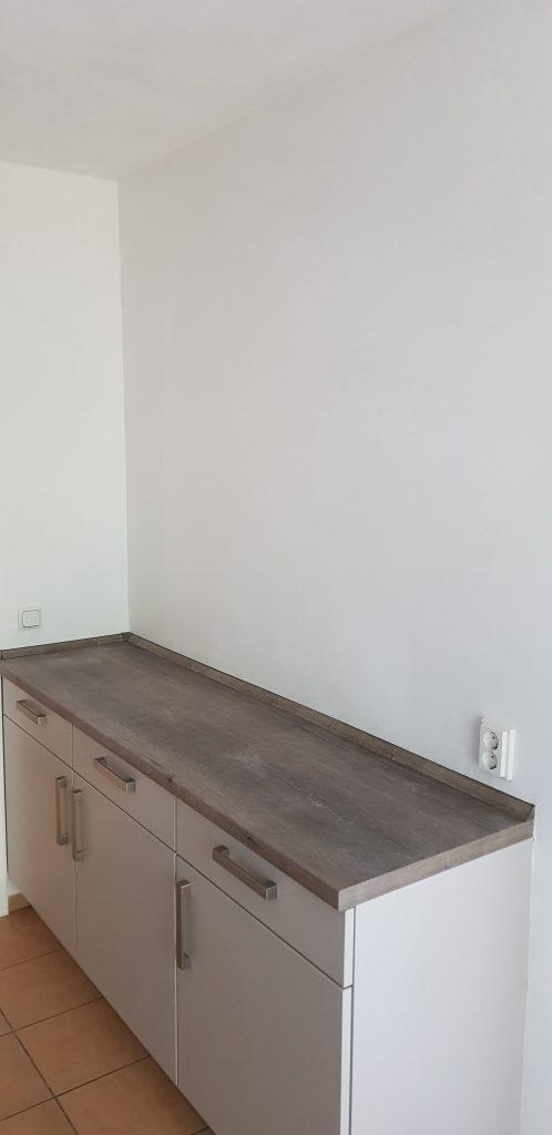 Wand Einbauküche: Kalkkind Marmorputz geglättete Oberfläche